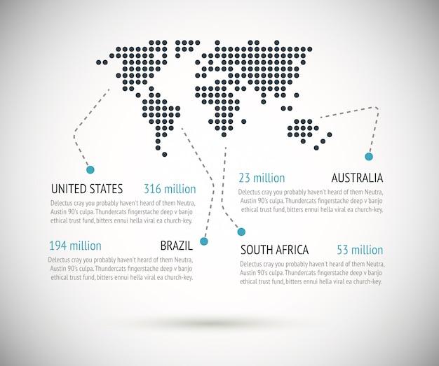 Carte du monde en pointillé avec vecteur d'exemples de texte