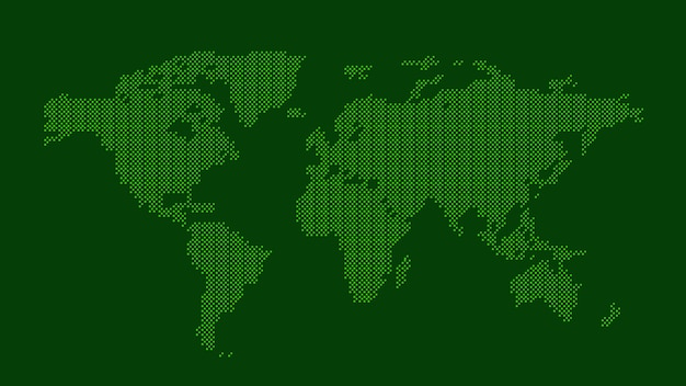 Carte du monde en pointillé vert