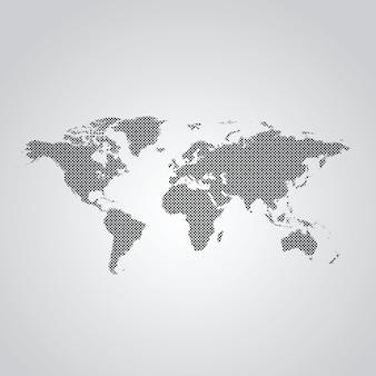 Carte du monde en pointillé