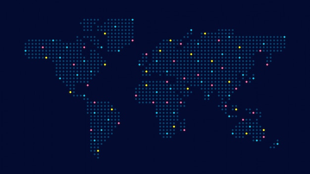 Carte du monde en pointillés