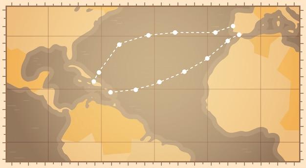 Carte du monde rétro avec la route de columbus concept de vacances heureux états-unis journée colombo day