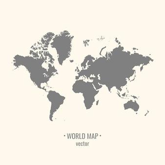 Carte du monde silhouette sur fond clair. l'image des continents.