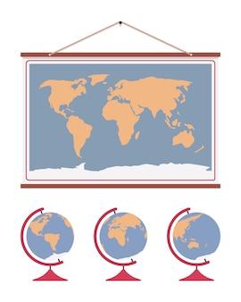 Carte du monde suspendu et ensemble de globes sur socle en bois