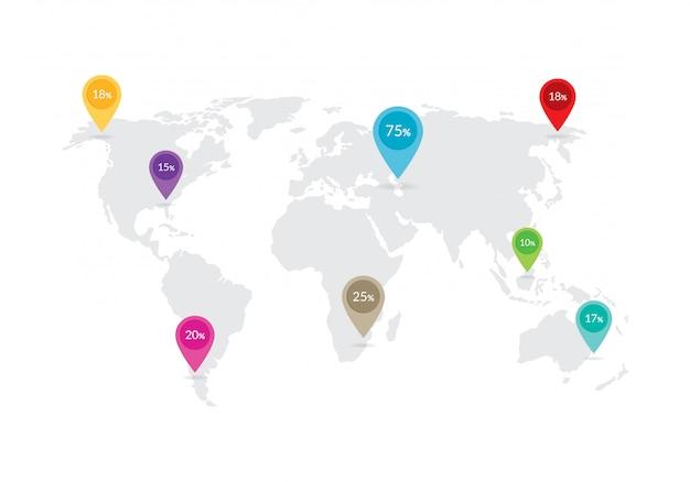 Carte du monde avec symboles d'emplacement