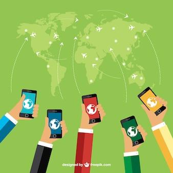 Carte du monde et les téléphones mobiles