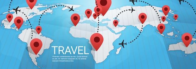 Carte du monde terre avec épingles illustration vectorielle de concept de voyage