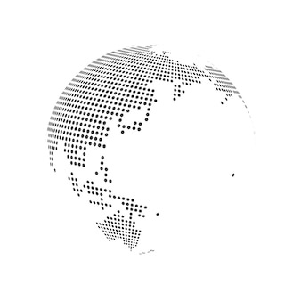 Carte du monde de la terre globe en pointillé abstrait. illustration vectorielle