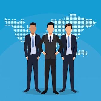 Carte du monde de travail d'équipe d'hommes d'affaires