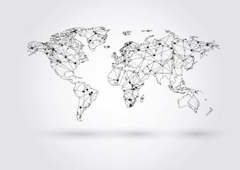 Carte du monde vecteur reliant les points et les lignes