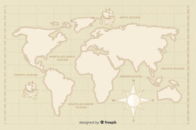 Carte du monde vintage avec boussole