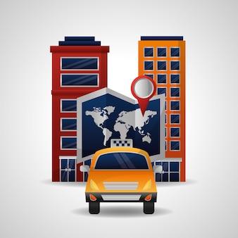 Carte du monde de voyage de transport de taxi et emplacement de ville