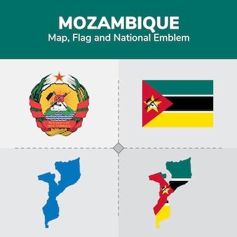 Carte du mozambique, drapeau et emblème national