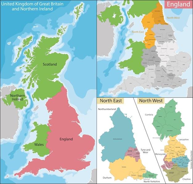Carte du nord-est et de l'ouest de l'angleterre