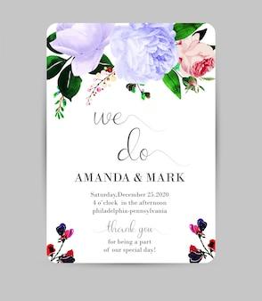 Carte du programme de mariage floral