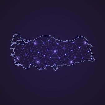 Carte du réseau numérique de la turquie. ligne de connexion abstraite et point sur fond sombre