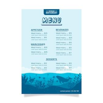 Carte du restaurant blue ocean