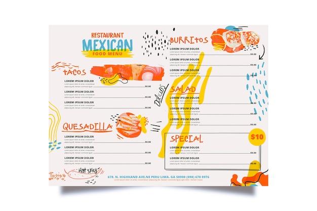 Carte du restaurant de poissons et légumes