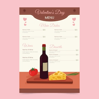 Carte du restaurant red wine and cheese french valentine