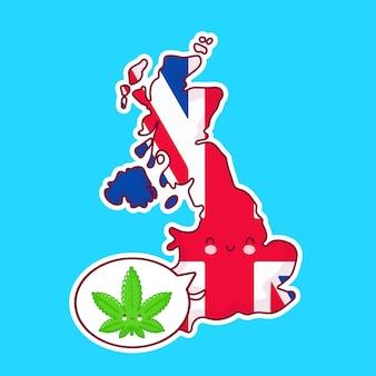 Carte du royaume-uni et caractère de drapeau avec marijuana de mauvaises herbes dans la bulle de dialogue