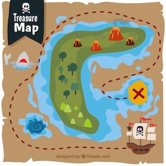 Carte du trésor des pirates colorés