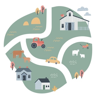 Carte du village mignon avec des maisons et des animaux. illustration vectorielle dessinés à la main d'une ferme. créateur de plan de ville.