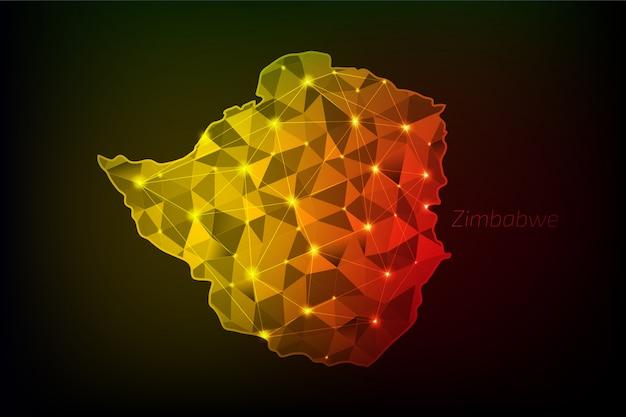 Carte du zimbabwe polygonale avec des lumières rougeoyantes et une ligne