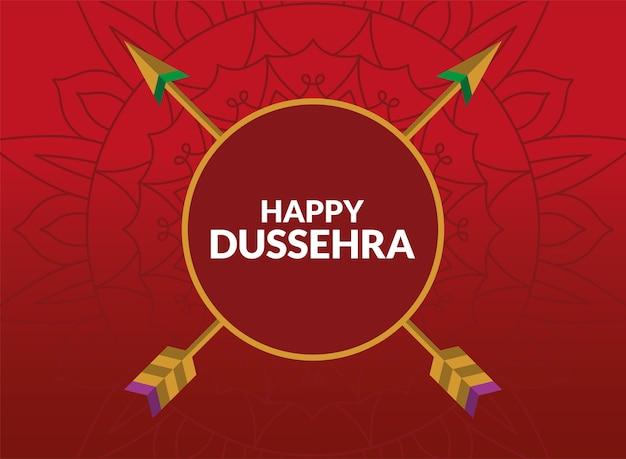 Carte de dussehra heureux avec des flèches en cercle sur rouge