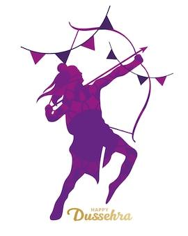 Carte de dussehra heureux avec silhouette tenant un arc et une flèche