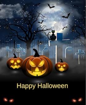 Carte effrayante pour halloween. fond bleu avec pleine lune, pierres tombales, araignée, chat et chauves-souris. fête d'halloween avec des citrouilles. illustration vectorielle.