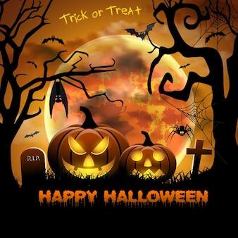 Carte effrayante pour halloween. fond orange avec pleine lune, pierres tombales, araignée et chauves-souris. fête d'halloween avec des citrouilles. illustration vectorielle.