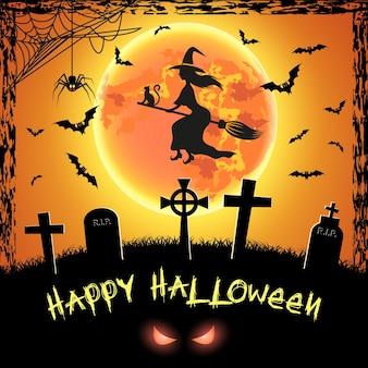 Carte effrayante pour halloween heureux. fond orange avec pleine lune, pierres tombales, araignée, sorcière et chauves-souris. illustration vectorielle.