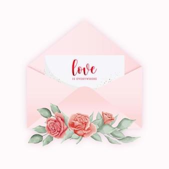 Carte élégante enveloppe rose de la saint-valentin avec des éléments botaniques aquarelles