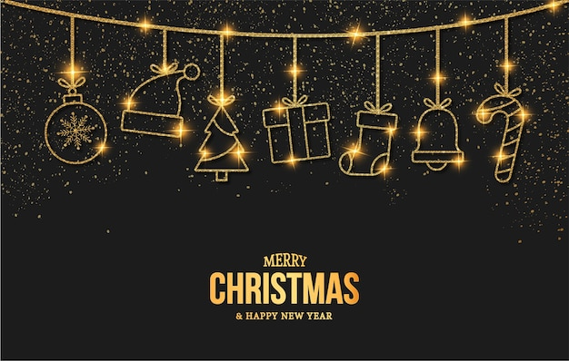 Carte élégante de joyeux noël et nouvel an avec des icônes d'objets de noël dorés