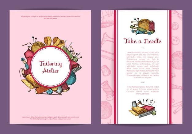 Carte d'éléments de couture dessinés à la main, modèle de flyer pour les cours de couture ou illustration de boutique d'artisanat à la main