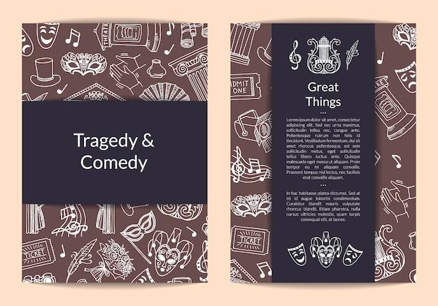Carte des éléments de théâtre doodle, modèle de flyer pour agence artistique ou illustration de cours de théâtre