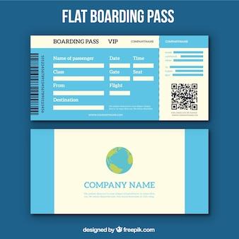 Carte d'embarquement bleu avec le code de qr