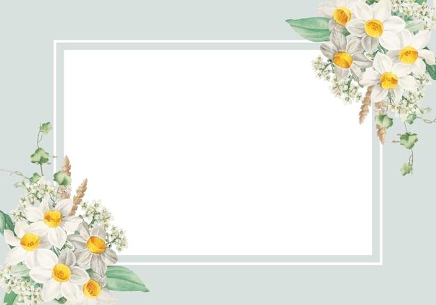 Carte encadrée de fleurs de pâques