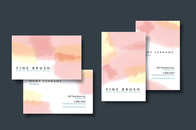 Carte d'entreprise abstraite avec des taches de couleur pastel