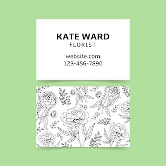 Carte d'entreprise dessinée à la main réaliste avec modèle de fleurs