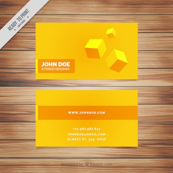 Carte d'entreprise jaune avec des cubes
