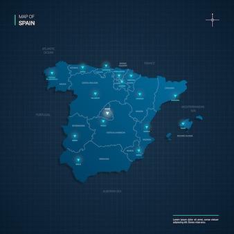 Carte de l & # 39; espagne avec des points lumineux au néon bleu