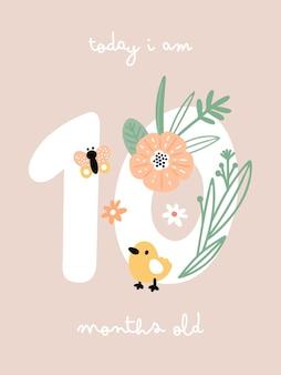 Carte d'étape de bébé avec des fleurs et des chiffres pour une fille ou un garçon nouveau-né
