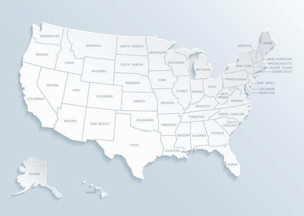 Carte des états-unis d'amérique avec les noms de villes.