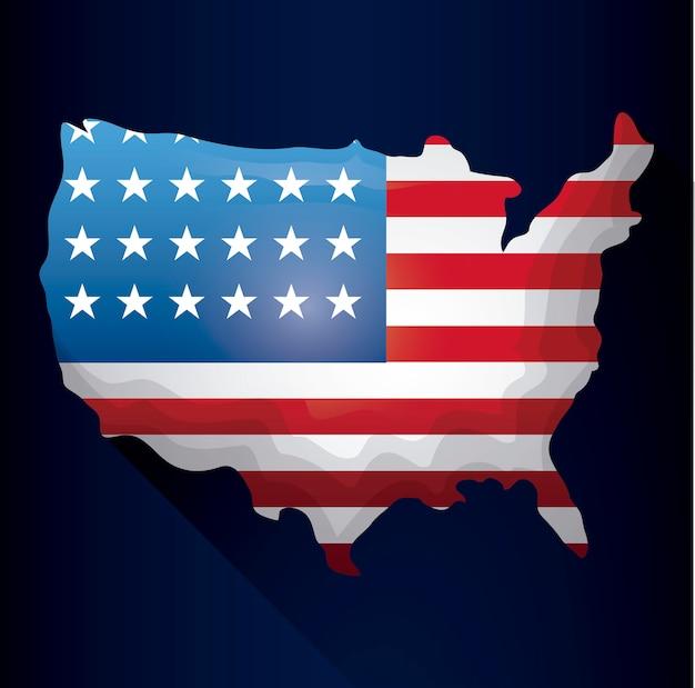Carte des états-unis avec drapeau