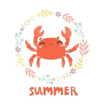 Carte d'été avec crabe drôle