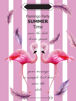 Carte d'été de fête des flamants roses