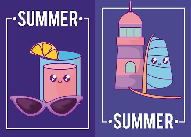 Carte d'été avec phare, lunettes de soleil et boisson cocktail kawaii