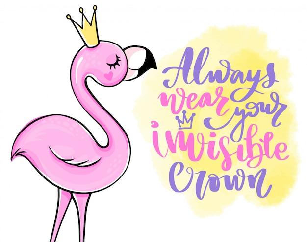 Carte d'été de vecteur avec flamant rose de princesse. illustration mignonne