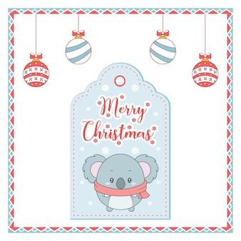 Carte d'étiquette de dessin animal mignon joyeux noël avec ornements à colorier et cadre de bonbons