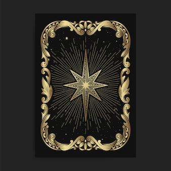 Carte étoile ornementale vintage, avec gravure, luxe, ésotérique, boho, spirituel, géométrique, astrologie, thèmes magiques, pour carte de lecteur de tarot.